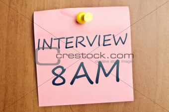 Interview at 8AM post it