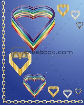 abstract rainbow hearts