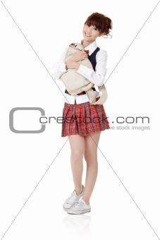 Adorable school student girl