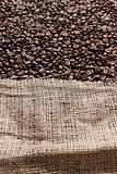 Coffee beans in a big canvas bag