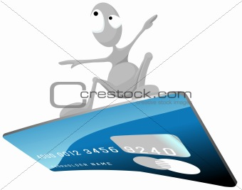 Grey man is surfing on a credit card.
