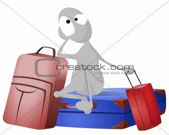 Grey man and lots of baggage