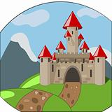 cartoon castle on background with mountains