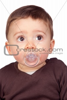 Beautiful baby with a pacifier