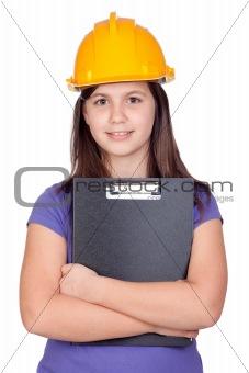 Adorable preteen girl with helmet
