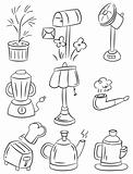 hand draw home appliances cartoon icon