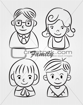 hand draw cartoon family icon