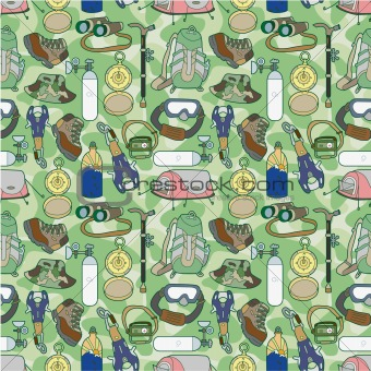 seamless Climbing equipment pattern