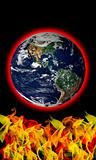Flames heating earth global warming concept