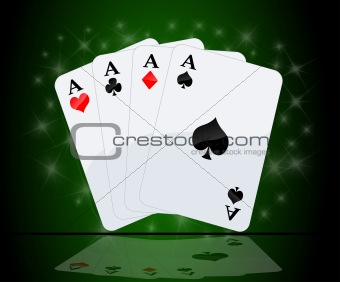 Four aces in green background