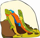 Three multi-coloured lizards sit on a stone