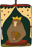 Brown monkey with a crown