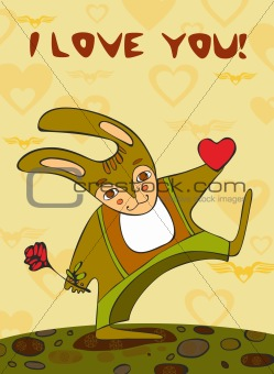 Card with a hare giving heart and a rose