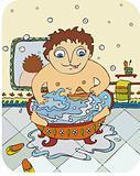 little boy bathes in a bathroom with a toy ship