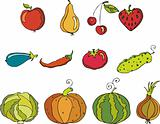 Vector set of fruit and vegetables