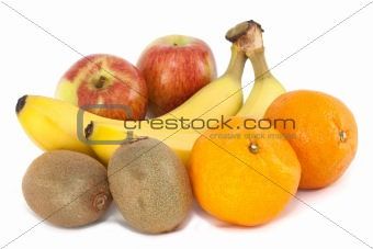 Apples, Oranges, Bananas and Kiwi Fruit on white