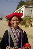 Red Hmong pompons ethnic woman portrait