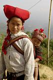 Red Hmong Sapa ethnic woman and baby