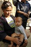 Black Hmong Mother and baby