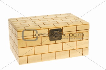 Closed  wood  box isolated on white background