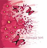 Grunge paint flower background with butterfly, element for desig