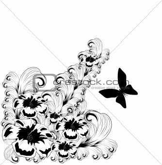 Black floral design element