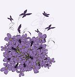 Violet greeting card. Vector