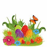 Vector illustration of Easter eggs on the beautiful green grass