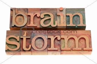 brainstorm word in letterpress type