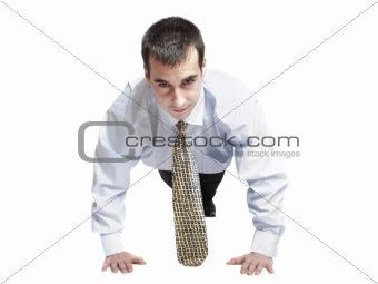 Business man doing push up