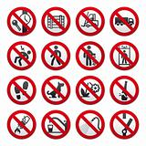 A set of signs prohibiting