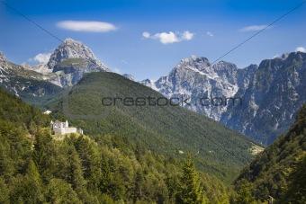 Castle ruins in Julian Alps, Slovenia