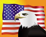 eagle with the flag of the United States