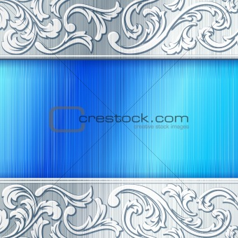 Brushed steel horizontal banner in blue.
