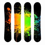 Vector grunge snowboard set