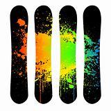 Vector grunge snowboard set