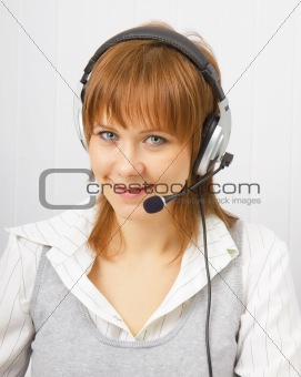 attractive girl in headphones with microphone