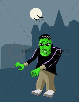A vector illustration of a halloween frankenstein