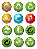 Glossy recycle & environmental icons vector