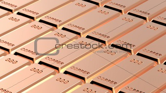 Copper ingots background.
