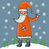 Cartoon Santa in funny style