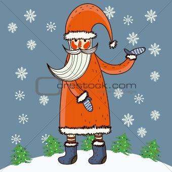 Cartoon Santa in funny style