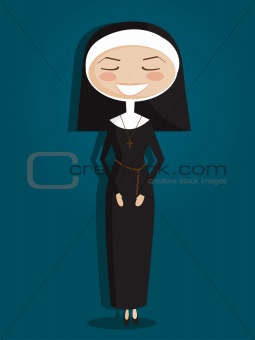 Retro cartoon nun