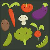 Cute vegetable characters