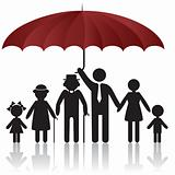 Silhouettes of family under umbrella cover
