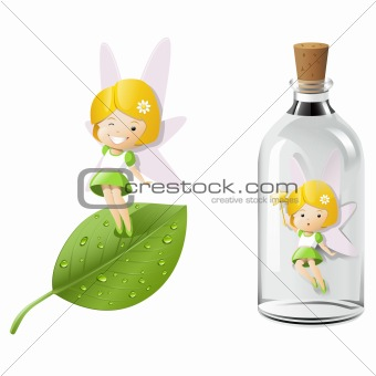 Fairy magic on fresh leaf and trapped in a bottle