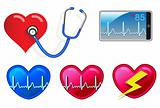 Heart beat monitoring devices and icons