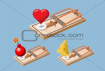 Heart, bomb and cheese mouse traps