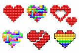 Hearts from pixels and colorful puzzle pieces