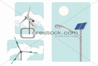 Windmill power and solar energy, environmentally safe
